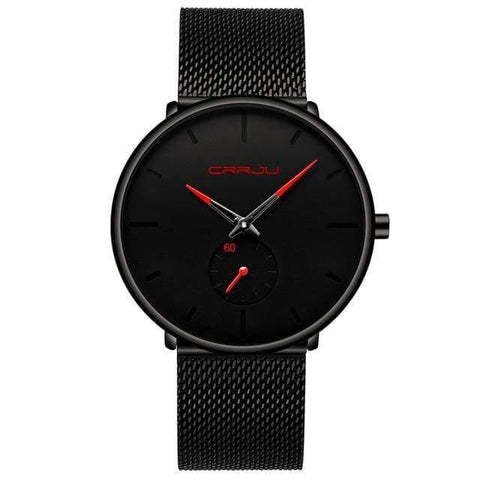 Planet Gates black red Mens Watches Top Brand Luxury Quartz Watch Men Casual Slim Mesh Steel Waterproof Sport Watch Relogio Masculino