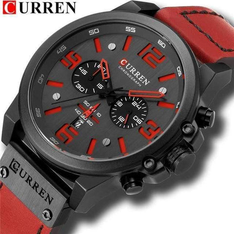 Planet Gates black red Mens Watches Top Luxury Brand Waterproof Sport Wrist Watch Chronograph Quartz Military Genuine Leather Relogio Masculino