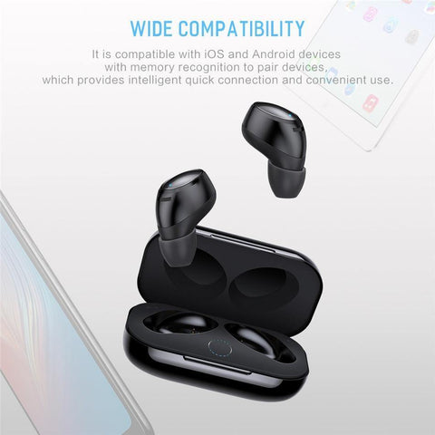 Planet Gates Black Rock New Mini TWS True Wireless Stereo Bluetooth Earphone with Mic Universal Wireless Handsfree Earbuds with Charger Battery Box