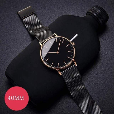 Image of Planet Gates Black Rose Mens Stainless Steel Bracelet Quartz Watch Fashion Rose Gold Silver Man Watch Style Men Dress Watch 40mm