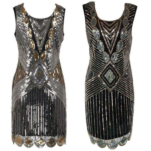 Planet Gates Black / S Beading Vintage Flapper Dresses Roaring 1920s Gatsby Themed Party Dress  Girl Loose Type Sleeveless Event Dress