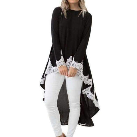 Planet Gates black / S Casual Irregular T shirt Women Autumn Long Sleeve O Neck Tops&Tees Elegant Lace Patchwork Streetwear T-Shirt Plus Size