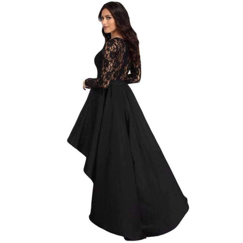 Planet Gates Black / S / China Black Long Sleeve Lace High Low Satin Dress Sexy Elegant Maxi Evening Party Dresses Social Event Red Carpet Vestidos