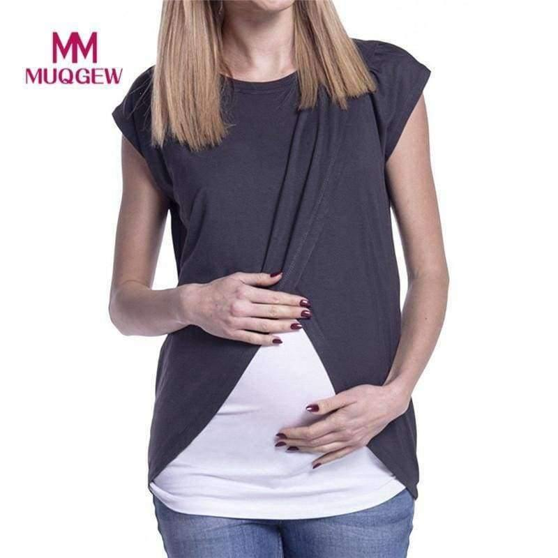 Planet Gates Black / S / China Women's Blouse Maternity Nursing Wrap Top Cap Sleeves Double Layer Blouse Spring Autumn newet style hot sale fashion Blouse