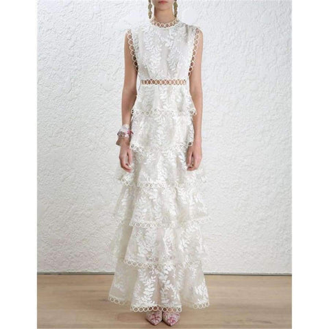 Image of Planet Gates Black / S Quality Women Autumn Winter Dress 2018 Self Portrait White Tiered Lace Maxi Dress Ladies Party Event Evening Club