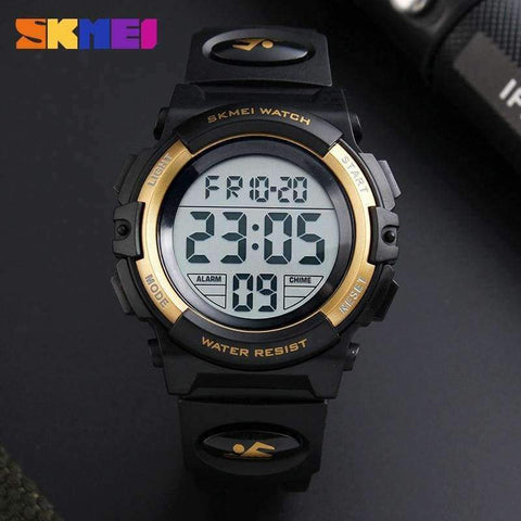 Planet Gates Black SKMEI Brand Children Watch Kids Outdoor Sports Watches Multifunctional Waterproof LED Digital Wristwatches For Boy&Girls Relogio