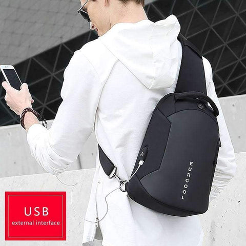 Planet Gates Black / Small Multifunction Crossbody Bags Men USB Charging Chest Pack Short Trip Messengers Chest Bag Water Repellent Shoulder Bag Male n1825