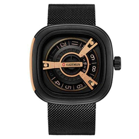 Planet Gates black Steel KADEMAN Creative Watches Men Luxury Brand Quartz Watch Fashion Sports Reloj Hombre Waterproof Clock Male Watch Relogio Masculino