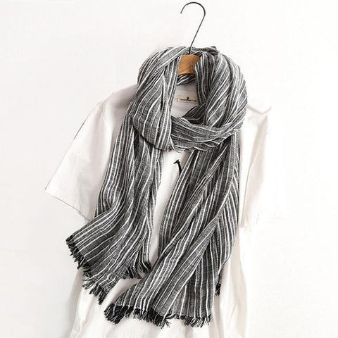 Planet Gates black Winter Scarf Women and Men Striped Cotton Linen Scarfs Vintage Oversized Shawls and Scarves