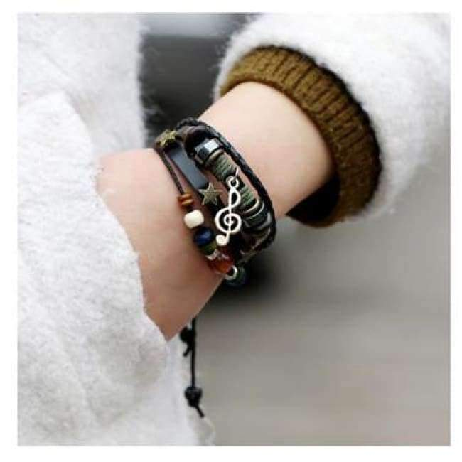 Planet Gates Black2 / Free Shipping Women's Bracelet Pendant Leather Cuff Wrap Bracelet Punk Rock Wristband Retro Braid Bangle Buckle Type