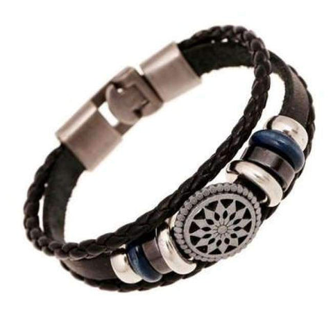Image of Planet Gates Black3 / Free Shipping Women's Bracelet Pendant Leather Cuff Wrap Bracelet Punk Rock Wristband Retro Braid Bangle Buckle Type