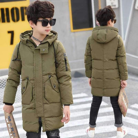 Image of Planet Gates Blue / 10 Winter Clothes for Boys Feather Down Coats Hooded Long Parkas Teenage Boys Winter Clothes age 10 12 14 16 years Winter Kids Coat