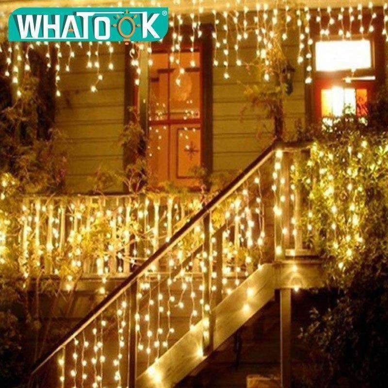 Planet Gates Blue 220V christmas lights Outdoor string light 4.5m 110V 220V 100 leds Curtain Decorative New Year Party Weeding Holiday LED Lamp Light