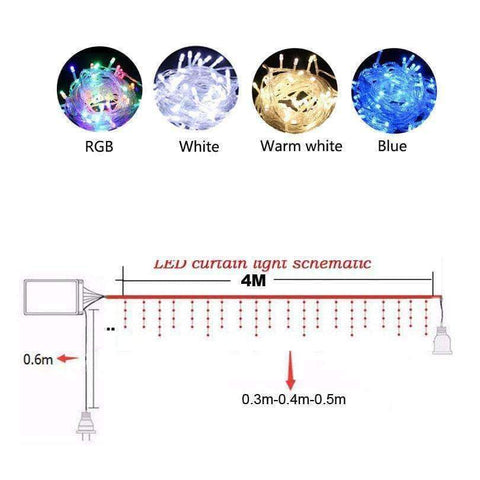 Image of Planet Gates Blue 220V christmas lights Outdoor string light 4.5m 110V 220V 100 leds Curtain Decorative New Year Party Weeding Holiday LED Lamp Light