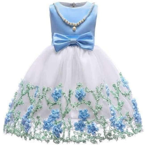 Planet Gates blue / 2T Baby Girl embroidery Silk Princess Dress for Wedding party Kids  Dresses for Toddler Girl Children Fashion Christmas Clothing