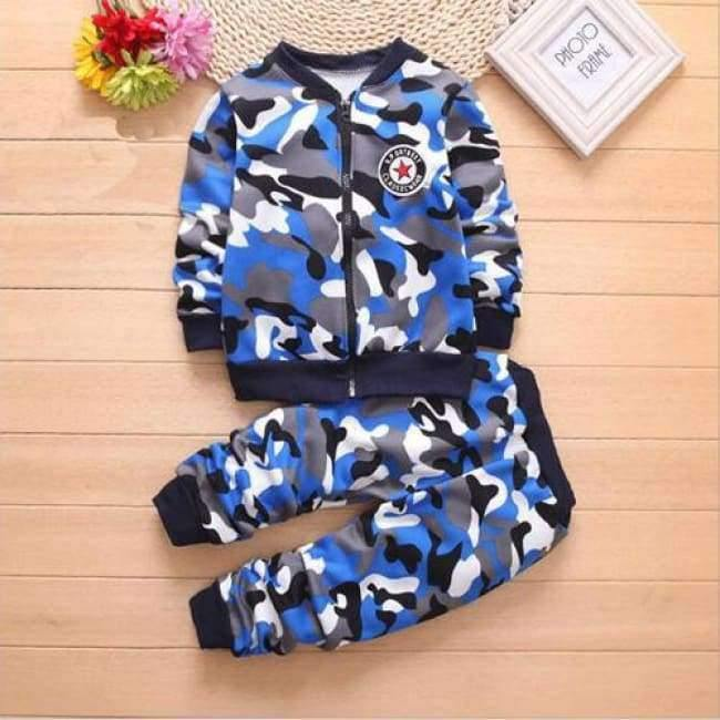 Planet Gates Blue / 2T Children Boys Winter Warm Woolen Outerwear Jack Coat Pants Girls Clothing Set Baby Kids Hoody Trousers Camouflage Tracksuit