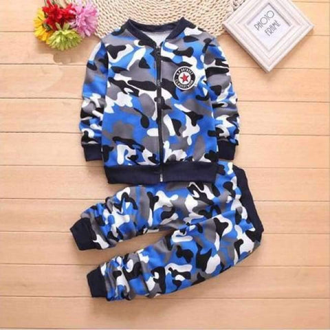 Image of Planet Gates Blue / 2T Children Boys Winter Warm Woolen Outerwear Jack Coat Pants Girls Clothing Set Baby Kids Hoody Trousers Camouflage Tracksuit