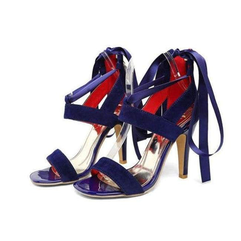 Image of Planet Gates Blue / 4 Meotina Women Shoes Sandals 2018 Summer Cross Tied High Heel Sandals Gladiator Women Sexy Party Heels Blue Red Large Size 44 45