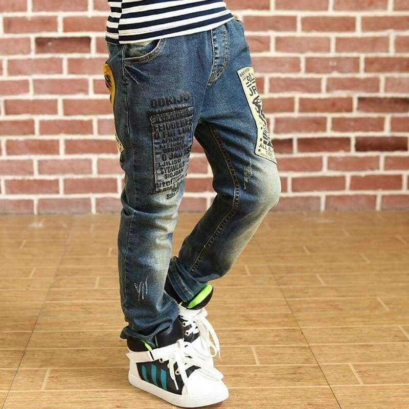 Planet Gates blue / 4T Children clothes boys long style cotton jeans 3-13 Y teenage Autumn spring denim trousers teenage boy trousers casual pants