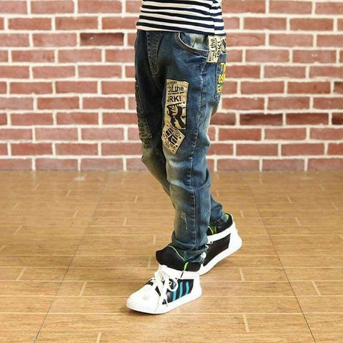 Image of Planet Gates blue / 4T Children clothes boys long style cotton jeans 3-13 Y teenage Autumn spring denim trousers teenage boy trousers casual pants