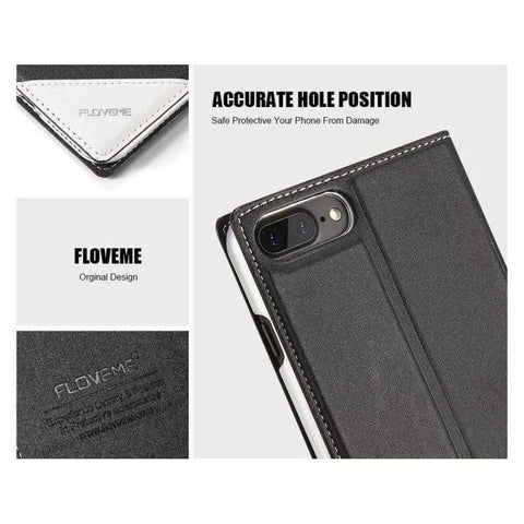 Kaso Para sa iPhone 5 5S SE iPhone 8 Kaso Luxury Brand Flip Card Slot Katad Coque Cover ng Telepono Para sa iPhone X 7 6 6S Kaso