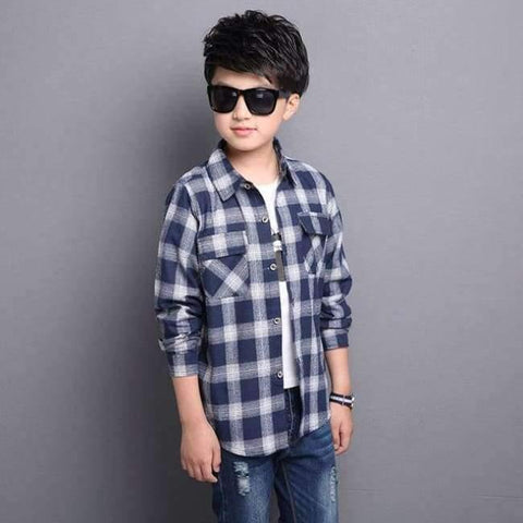 Image of Planet Gates Blue / 5 Kids Shirts for Boys Long Sleeve Plaid Tops Autumn Children Clothing Teenage Casual Blouses Plus Size Infant Shirt 9 12 14 Years