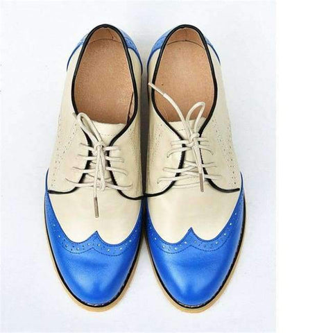 Image of Planet Gates blue beige / 5.5 women genuine leather oxford shoes woman flats handmade vintage retro lace up loafers brown casual sneakers flat shoes for women