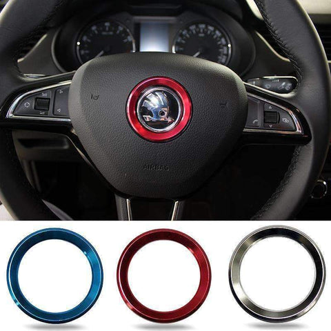 Image of Planet Gates blue Car Styling Steering Wheel Logo Emblems Ring Decoration Sticker For Skoda Octavia 2 a 7 a7 a5 Rapid Fabia Superb Car Accessories