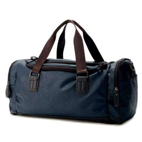 Planet Gates Blue Color PU Leather Men's Sports Bags Gym Bags Classic Sports HandBag Fitness Travel Bags Workout Shoulder Bag SB0029