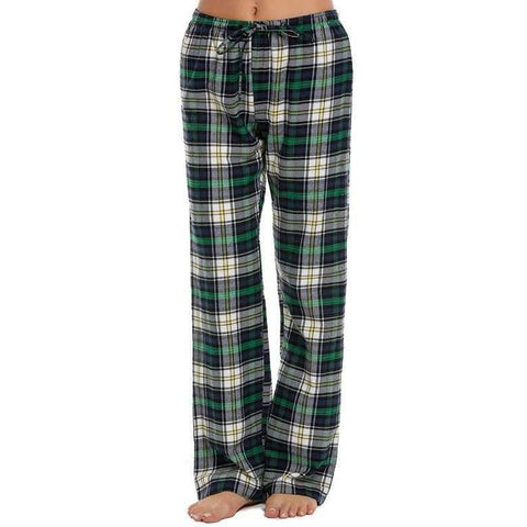 Image of Planet Gates blue / L Women Cotton Sleep Bottoms Elastic Waist Plaid Long Pajama Bottom Lounge Pants Plaid Casual Loose Home Clothing S-XXL