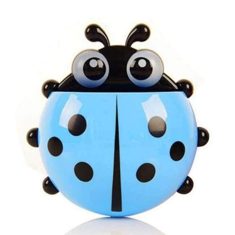 Image of Bathroom Products Sets Cartoon Ladybug Snails Zahnputz Zahnpasta Holder Wand Sucker Suction Hook Tooth Brush Holder - Blue Ladybug