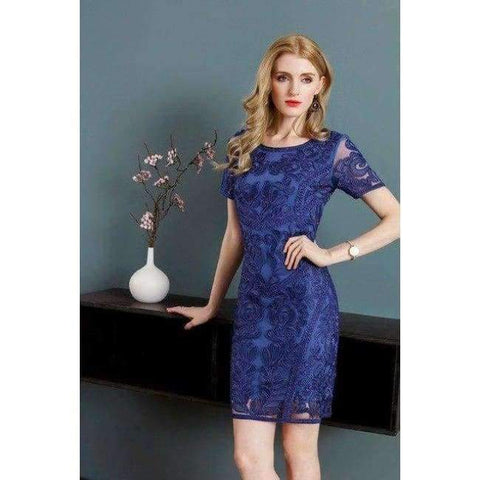 Image of Planet Gates blue / M Dress Vestidos De Feta Women O-Neck Allover Appliques Embroidery Short Sleeve Bodycon Dark Blue Pink Dress Events Party