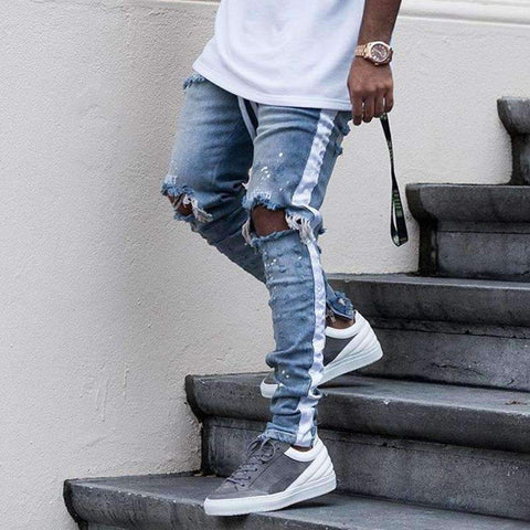 Planet Gates Blue / M HEYGUYS 2018 fashion loose jeans Men Casual Trousers joint Fashion Fitted Bottoms zipper street wear hip hop straight jeans man