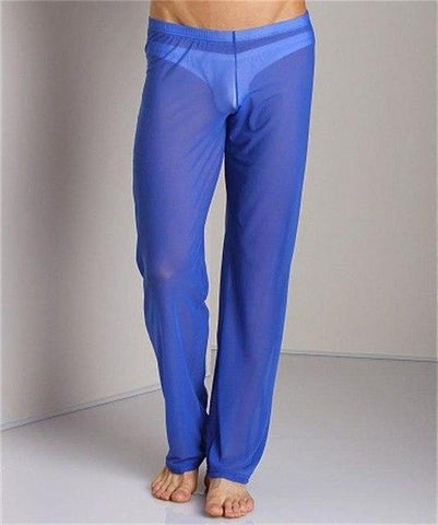 Planet Gates Blue / M Men Transparent Loose Mesh Lounge Pants Loose-fitting Pants Pyjama Trouser Sleep Pant