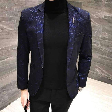 Planet Gates blue / M Slim bleiser masculino 2017 Winter Casual Fit Floral Suit Mens Flower Blazer Party Dress Outfit Pantalon Trendy blaser masculino