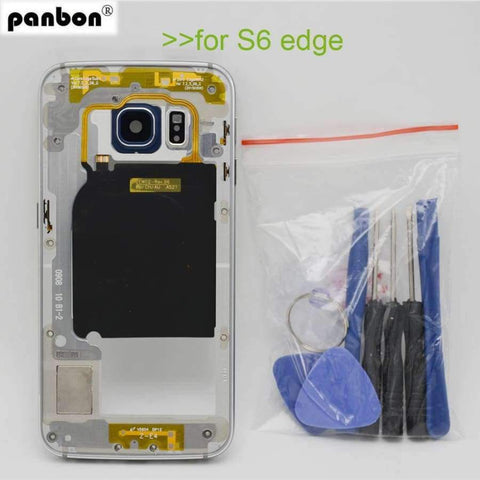 Planet Gates Blue Middle frame for Samsung Galaxy S6 edge G925 G925F Back Plate Bezel Housing Case Free Tools Replacement Parts