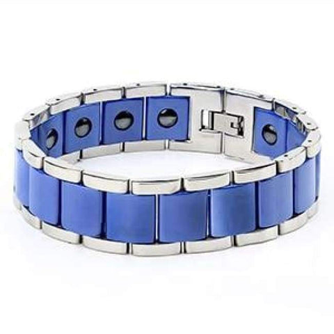 Image of Planet Gates Blue New Men Bracelet Energy Health Magnetic Bracelets For Man Blue Black Ceramic Stainless Steel Bracelet & Bangles Charm Jewelry