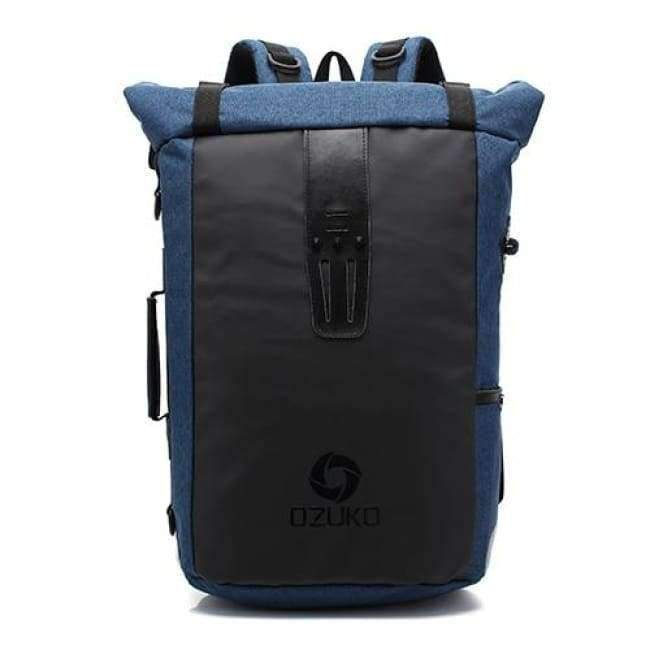 Planet Gates Blue Ozuko New Multi-functional Casual Men Backpacks Travel Mochila Shoulder Bag Creative Male Waterproof Laptop Backpack School Bags