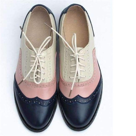 Image of Planet Gates blue pink beige / 5.5 women genuine leather oxford shoes woman flats handmade vintage retro lace up loafers brown casual sneakers flat shoes for women