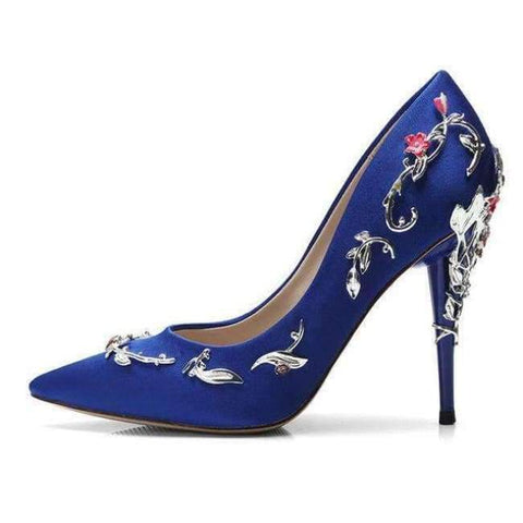 Image of Planet Gates Blue Pumps / 3.5 Baimier 2018 Luxury Brand Women Pumps Flower Heel Wedding Shoes Women Elegant Silk High Heels Women Shoes Plus Size 40 41 42