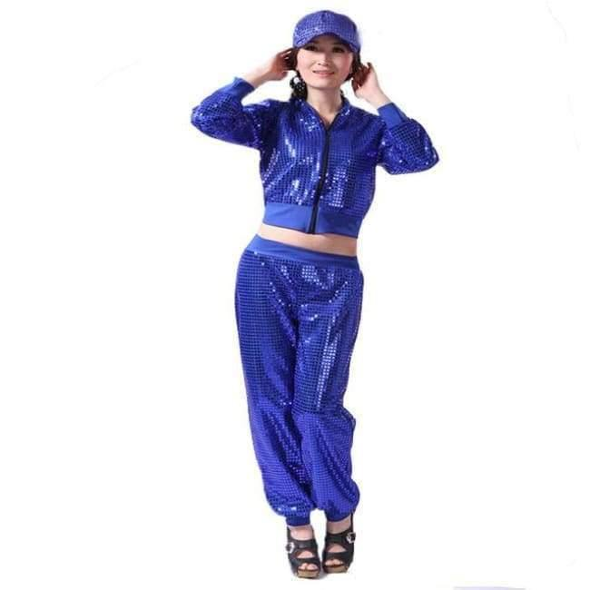 Planet Gates blue / S Adult Jazz Hiphop Modern Dance Wear Paillette Stage Performance Clothing woman sequins Cheerleading dance costuems