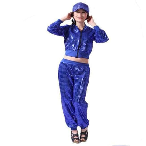 Image of Planet Gates blue / S Adult Jazz Hiphop Modern Dance Wear Paillette Stage Performance Clothing woman sequins Cheerleading dance costuems