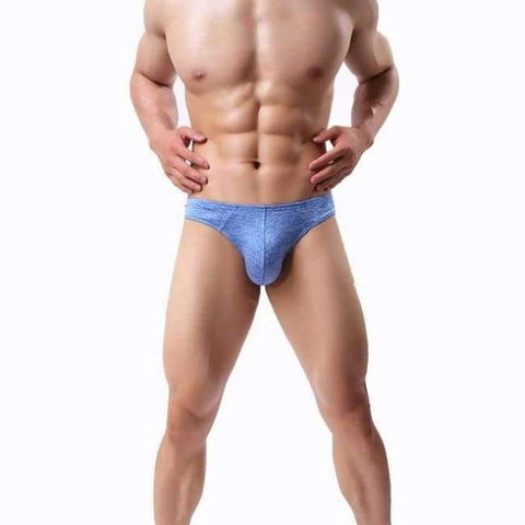 Planet Gates Blue / S LASPERAL 1PC Solid Breathable Men Briefs U Convex Panties Underpants Underwear Sexy Thin Breathable Men Mid Waist Underwear