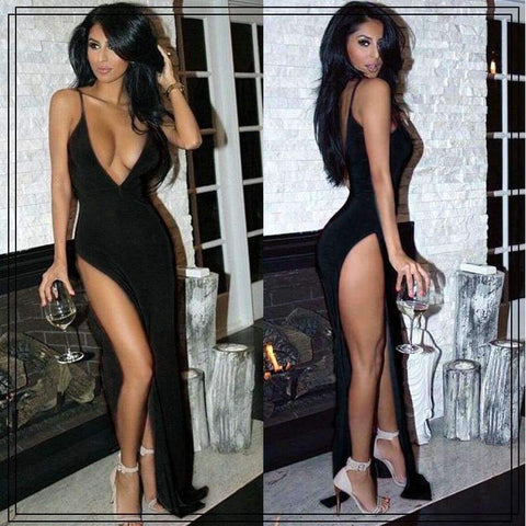 Planet Gates Blue / S Women Elegant Solid Maxi Dress Sleeveles Party Dress Evening Club Bodycon Sundress Clubwear High Slit Deep V Neck Sexy