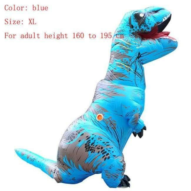 Planet Gates blue size XL / T REX Adult  T-REX Inflatable Costume Christmas Cosplay Dinosaur Animal Jumpsuit Halloween Costume for Women Men