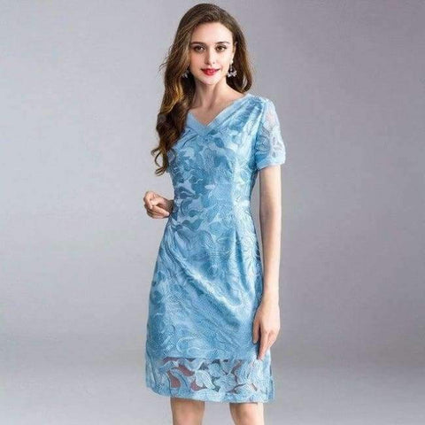 Planet Gates blue / XL Womens Fashion Summer Party Event Dress 2018 Ladies V-Neck Allover Exquisite Embroidery Lace up Dress Knee Length