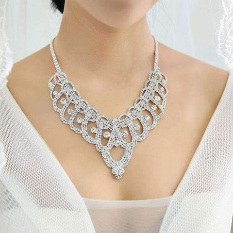 Planet Gates Bridal Jewelry Sets Rhinestone Necklace Clip Earrings Set Wedding Engagement Jewelry Sets for Women
