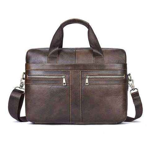 Image of Planet Gates Brown 1 Osmond Men Briefcases Lawyer Genuine Leather Handbag Vintage Laptop Briefcase Messenger Bags Casual Men's Bag For Documents