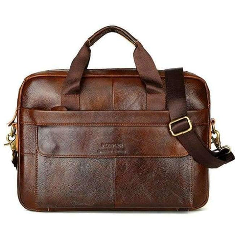 Image of Planet Gates Brown 2 Osmond Men Briefcases Lawyer Genuine Leather Handbag Vintage Laptop Briefcase Messenger Bags Casual Men's Bag For Documents