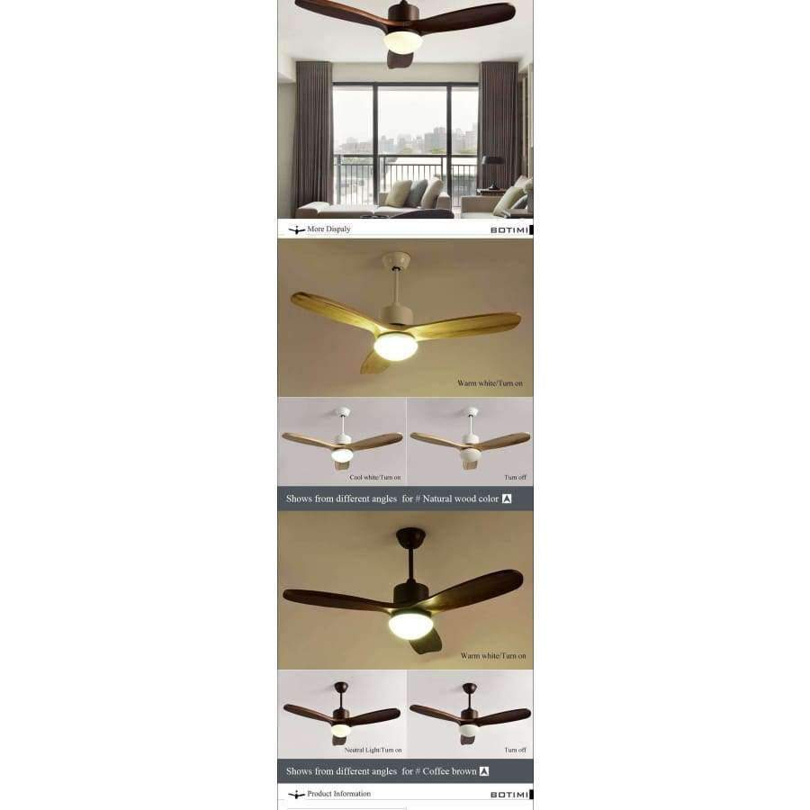 Planet Gates Brown Botimi 2018 New Ceiling Fan For Living Room Ventilador de techo Ceiling fans with Lights 48 Inch Modern Cooling Fan Fixtures